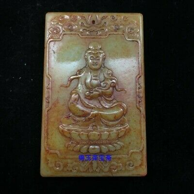 """3"""" Chinese antique 100% Natural carved hetian jade guanyin Ruyi statue Pendant"""