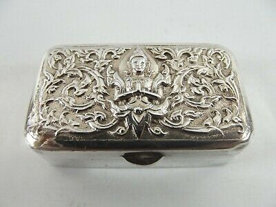 Sterling Silver Pill Box With Saim Deity Embossed To Lid Ref 48/4