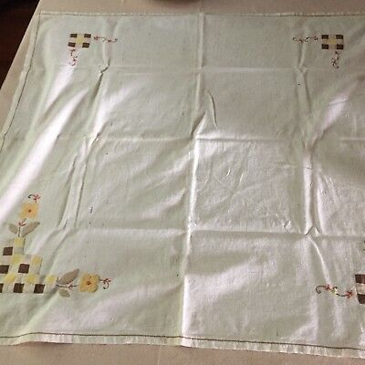 Vintage Embroidered And Quilted Tablecoth