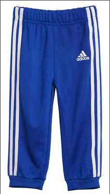 Adidas 3 Stripe Shiny Jogging Bottoms Juniors Boys Size UK 3-4 Years Blue/White
