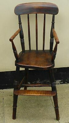 Antique Victorian Oak and Elm Childs High Chair