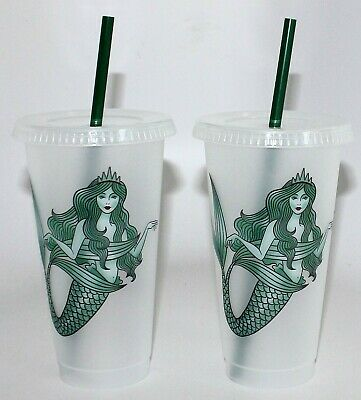 2 PACK Starbucks Mermaid Siren Cold Cup w/ Straw  - Reusable Plastic Venti 24oz