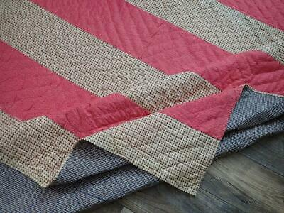 Crisp c1880 Antique PA Double Pink Bars & Shirting QUILT Homespun Back 84x67