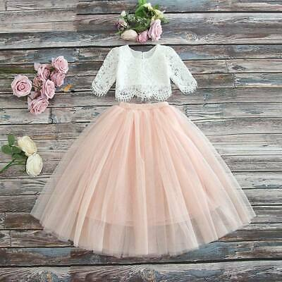 Premium Couture Child Blush Pink Pretty Lace Crop and Tulle Skirt Occasion Wear