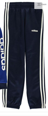 adidas Linear Logo Poly Tracksuit Bottoms Junior Navy White UK Size 13-14 Yr *16