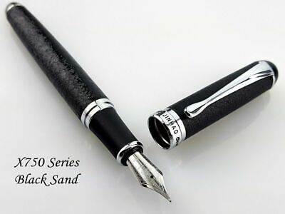 Jinhao X750 Black Sand Fountain Pen 0.7mm Broad Nib 18KGP Silver Trim