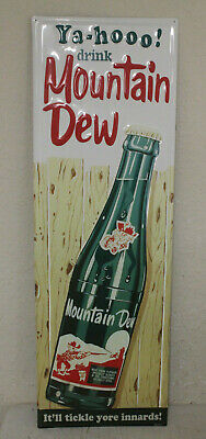 Large 42'' x 14 Hillbilly Mountain Dew Vintage Style Embossed Signs Bottle USA