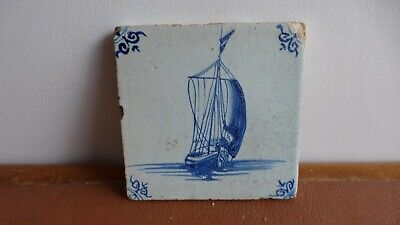 Antique Dutch Delft tile Ancien carreau . XVIIIth C. Boat. Ancien carreau...11