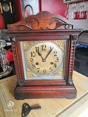 Antique Wooden Mantle clock In Good working Order