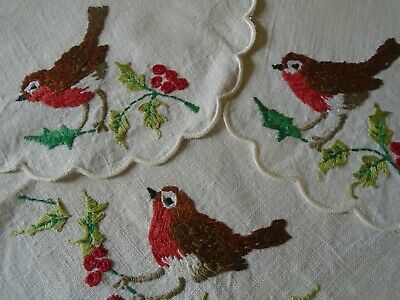 Set Of Three Vintage Hand Embroidered Linen Table Mats  - Robins