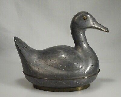 Vintage Chinese Pewter Duck Box  -  56757
