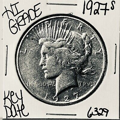 1927 S Silver Peace Dollar Coin #6329 Free Shipping Rare Key Date High Grade