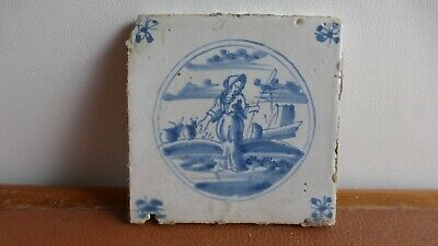 Antique Dutch Delft tile  Ancien carreau  Delft. XVIIIth C. ...............16