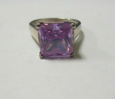 NF Sterling Silver Purple Cubic Zirconia Princess Cut Ring 5.8g Size 7 Pre-Owned