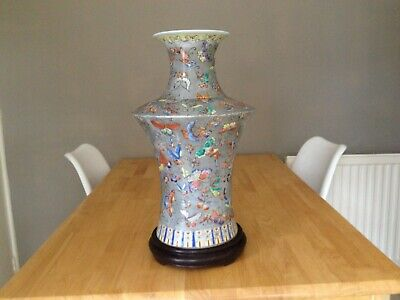Vintage Large Chinese Handpainted  Butterfly Vase on Wooden Stand