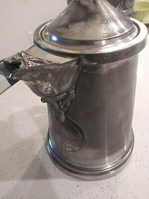 Victorian Era 1868 Teapot Ice Pitcher Lady Face Silver Plate, Meriden B. Co.