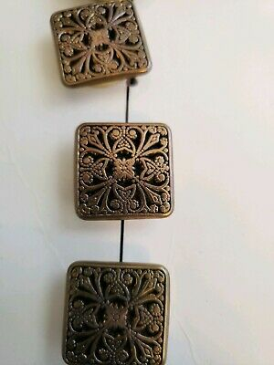Nony Button Cover Brass Color Metal Square Filigree Metal New Old Stock On Card