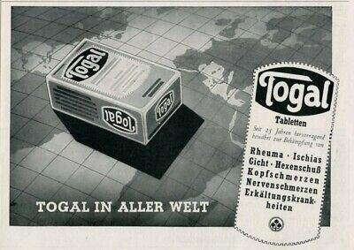 1941 Print Ad Togal Tablets German Pain Relief Remedy Medicine