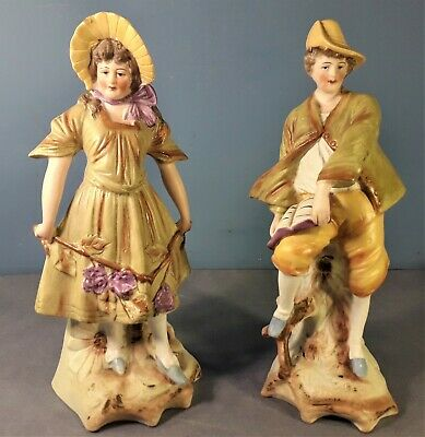 Vintage Pair of Large German Porcelain Bisque Figurines