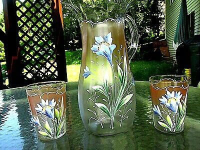 Antique Clear/Frosted to Pink Hand-Painted Glass Pitcher w/ 2 Glasses Blue Iris