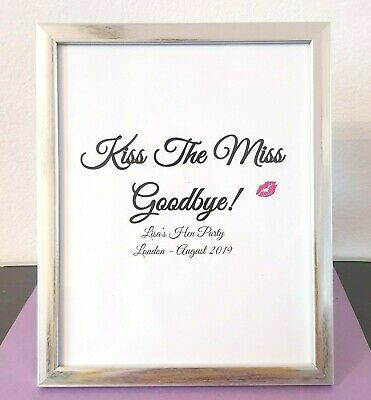 Kiss The Miss Goodbye, Personalised Hen Party Print Accessories Bride To Be gift