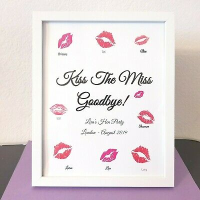 Kiss The Miss Goodbye, Hen Party Print Accessories Bride To Be gift Personalised
