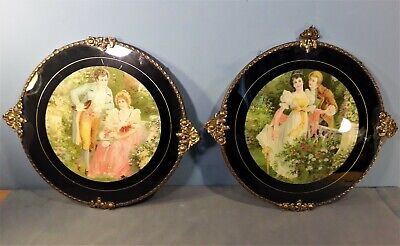 Pair of Antique Victorian Colour Prints in Glazed Frame