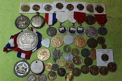 50-Items-Junk Drawer-Tokens-Medals-Elongated Penny-Misc.