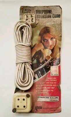Vintage 4 Prong Pin Telephone Extension Cord Phone Plug Jack Male Female NOS