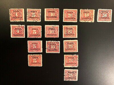 16-Stamp US Collection Doc. with Stock Transfer Overprint. New and Used. Perfins