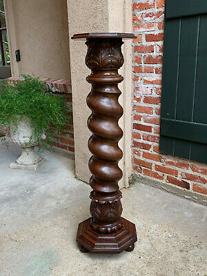 Antique French Carved Oak BARLEY TWIST Plant Stand Display Pedestal Newel Post