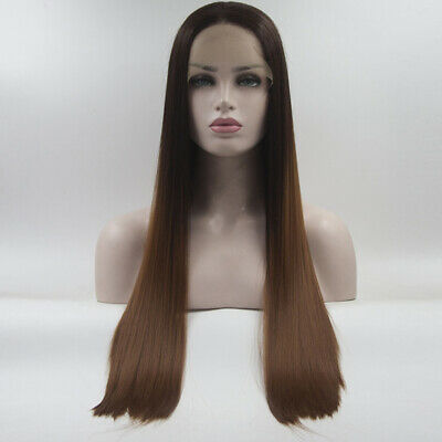 24 inches Mixed Brown Long Straight Free Part Natural Daily Hair Lace Front Wig