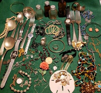 Junk Drawer Lot: Women's Jewelry, Watches, 925 Sterling Necklace Rings, Weiss