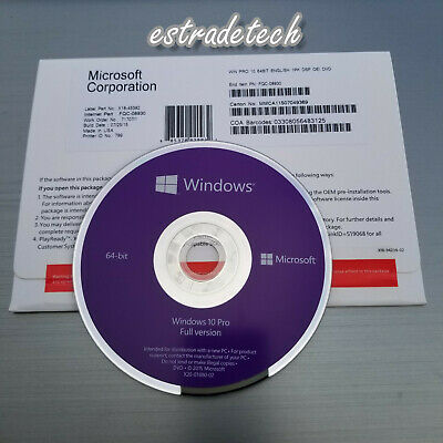 Microsoft Windows 10 Professional Pro 64Bit DVD OEM Full Version New