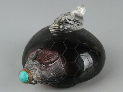 Chinese Exquisite Handmade bird Dragon turtle Glass snuff bottle
