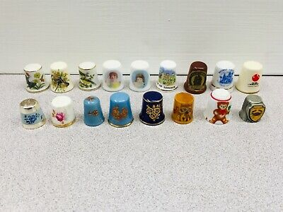Thimble lot of 17 Porcelain Pewter, Metal and Wood Sewing Collector Souvenir