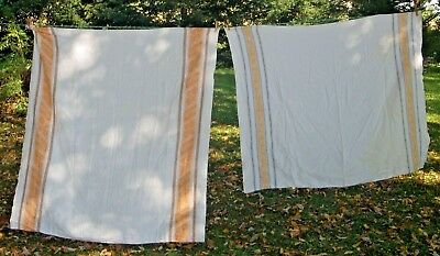 2 Vintage Linen Damask Tablecloths orange & Brown w/ Daisies Blue & yellow White