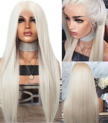 """AU 24"""" Heat Resistant Hair Natural Straight Party White Blonde Lace Front Wig"""