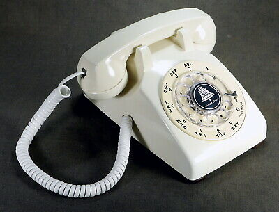 Western Electric Vintage White Rotary Dial Desk Telephone Model C/D 500 Restored