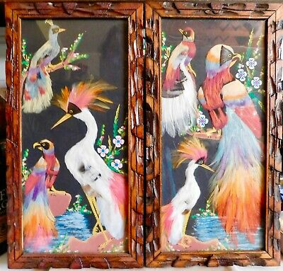 2 Vintage Mexican Feather Craft Bird Pictures Hand Carved Wood Frame Folk Art