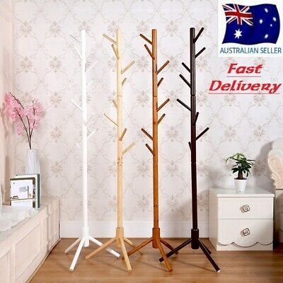 Wooden Coat Stand Rack Clothes Hanger Hat Tree Vintage Jacket Bag Umbrella