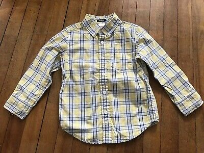 Gymboree Boys Marina Party Yellow Blue Plaid Checked Button Shirt Size 4 /4t