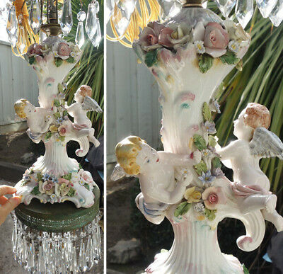 Vintage lamp flying Cherub Brass SWAG chandelier Capodimonte Porcelain PINK ROSE