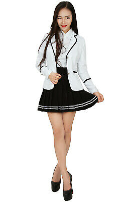 Fashion Girls Japanese School Uniform Soil JK White Color Coat Daily Party