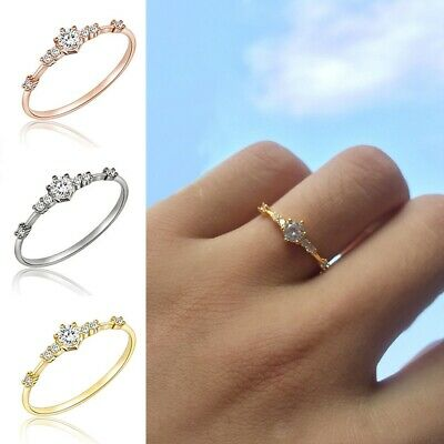14k Gold 7 Tiny Diamond Pieces Of Exquisite Small Fresh Ladies Engagement Rings