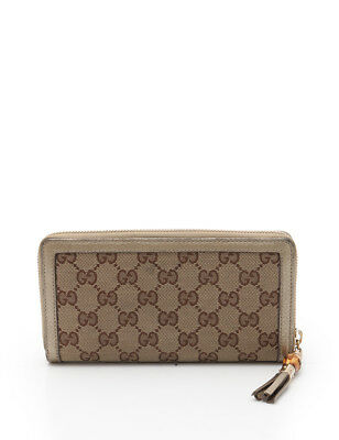 04a6ccaa5 GUCCI GG canvas bamboo round zipper Long wallet canvas leather beige brown  gold