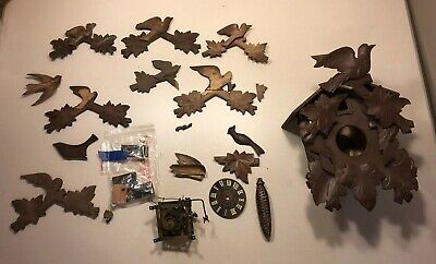 Carved German Black Forest Cuckoo Clock Parts Lot