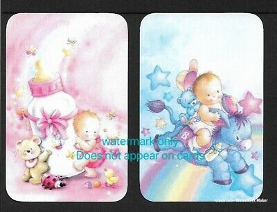Swap Cards 2 Single Cards. Cute Babies. Blank Backed Modern Cards, NOT WIDES