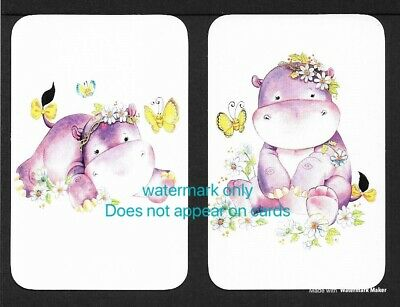 Swap Cards One Pair. Hippo With Flowers. Blank Backed Modern Cards, NOT WIDES