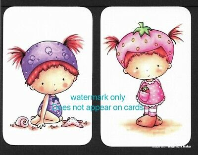 Swap Cards One Pair. Little Girls. Blank Backed Modern Cards, NOT WIDES